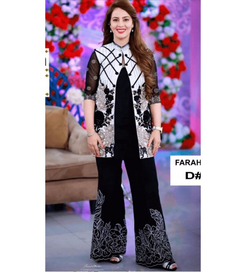 Black Beautiful Linen Fully Embroidered Suit