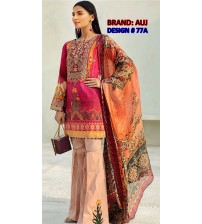 Beautiful Embroidered Linen Unstitched Suit With Wool Shawl