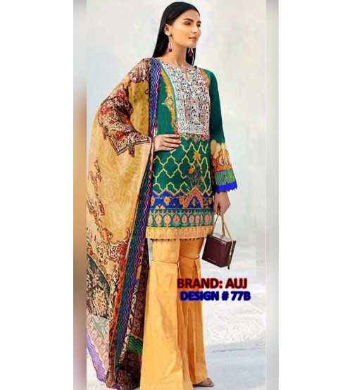 New Beautiful Embroidered Linen Unstitched Suit With Wool Shawl