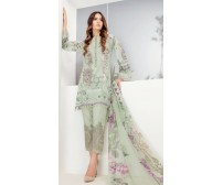 Grey Color 3 Piece Embroidered Linen Suit