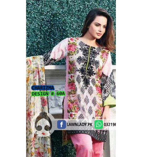 Winter Collection- Beautiful Pink and White  Embroidered Suit