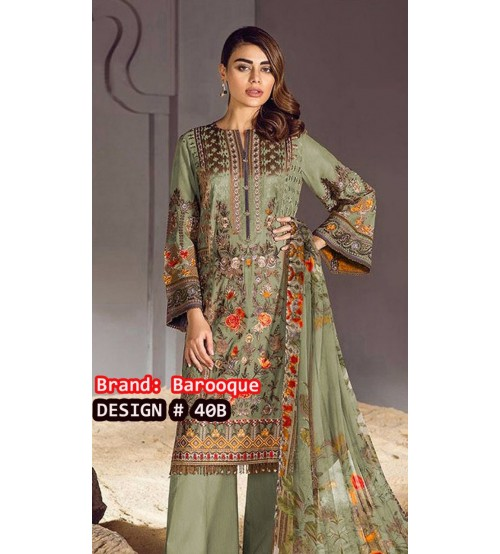 Beautiful C-Green Linen Unstitched 3 Piece Suit