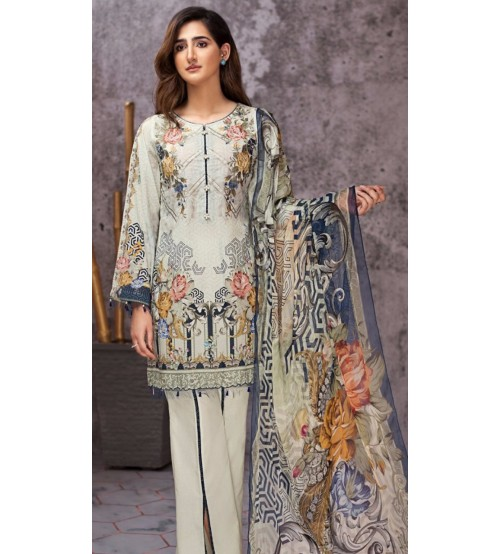 NECK EMBROIDERED DESIGNER 3PC LINEN SUIT WITH WOOL SHAWL DUPATA