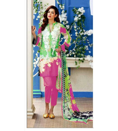 Sky Blue & Pink Embroidered Linen Unstitched 3 Piece Suit