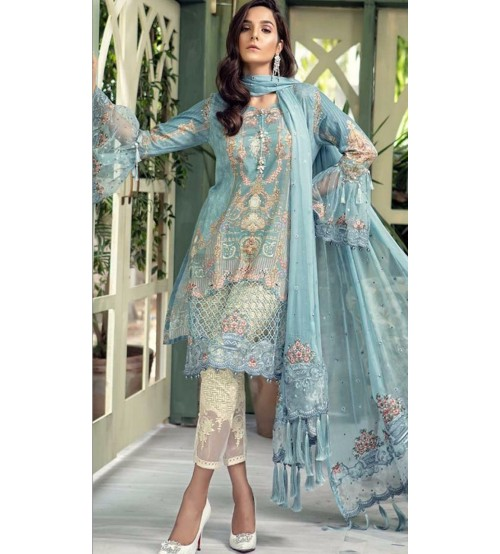 Sky Blue Design in Linen Suit with Embroidery