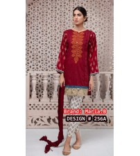 Beautiful New Arrival Red  Embroidered Linen