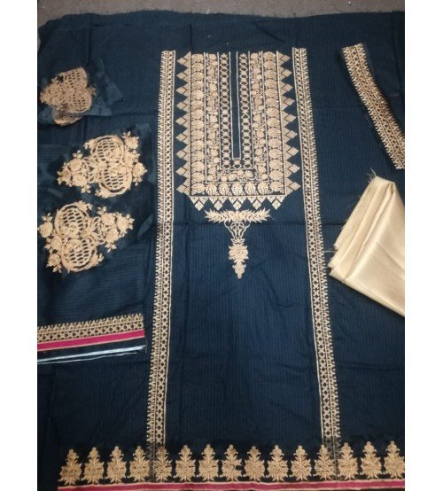 Embroidered Linen Suit With Bember  Duptta