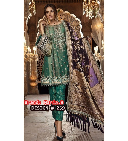 Green Embroidered Linen With Bambar Dupta