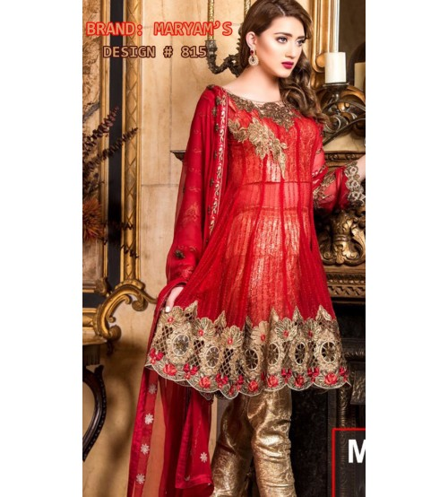 Red Stylish Embroidered Linen With Bambar Dupta