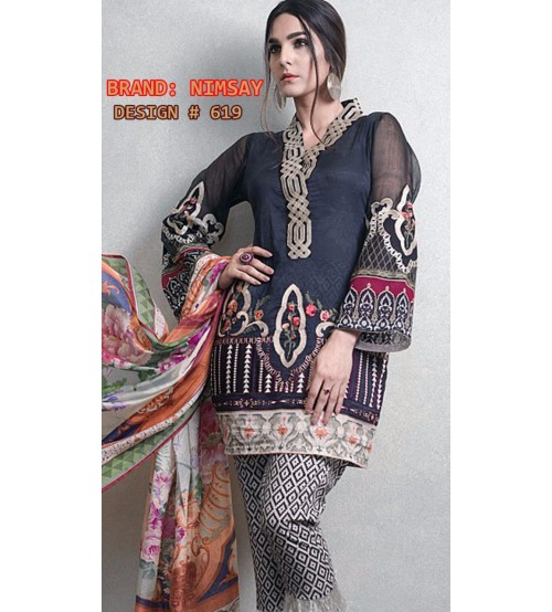 Embroidered Linen Suit with Shiffon Dupata
