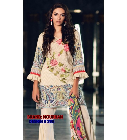 Linen Suit Embroidered Daman Gala With Wool Shawl