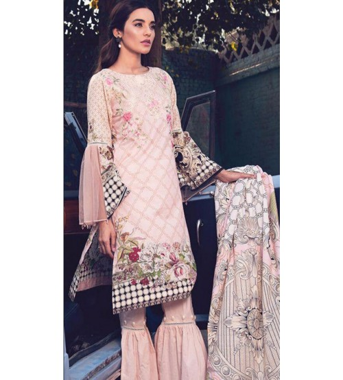 Embroidered Linen Suit with Chiffon Dupata RR 54A