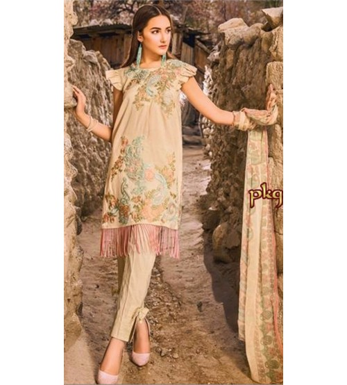 Linen Embroidered Suit With Linen Dupta