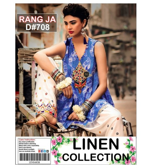 New Collection Blue Embroidered Linen Unstitched 2 Piece Suit
