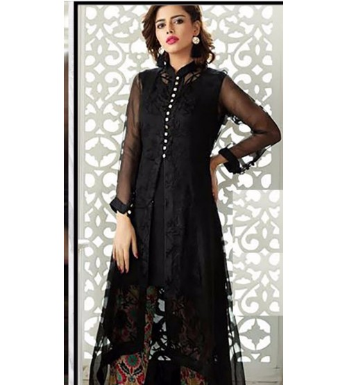 Black Linen Suit with Bambar Dupta