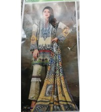 Beautiful Embroidered Linen Unstitched 3 Piece Suit With Wool Shawl