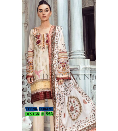 Pink Beautiful Embroidered Linen Unstitched 3 Piece Suit With Wool Shawl
