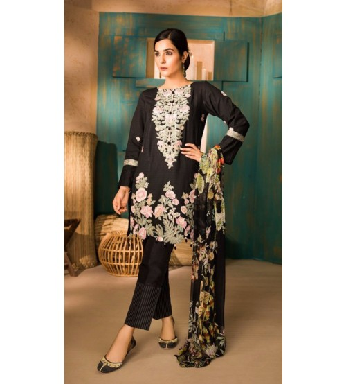 Apphire New Arrival Embroidered Linen Suit With Wool Shawl