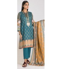 Embroidered suit Unstitched With Wool Shawl