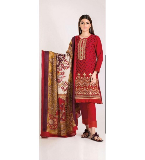 Luxury Embroidered Linen Unstitched Suit With Wool Shawl