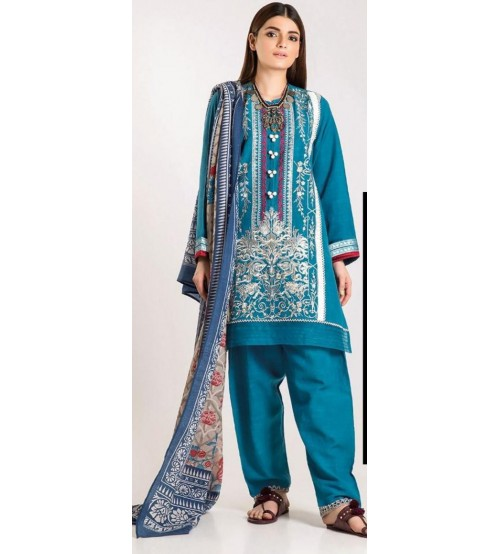 New Luxury Collection Embroidered Suit With Wool Shawl Dupatta