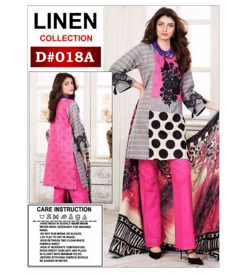 Winter Collection-Pink Printed Neck  Embroidered -Unstitched