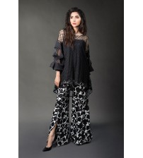 Embroiderd Black Linen Dress Unstiched
