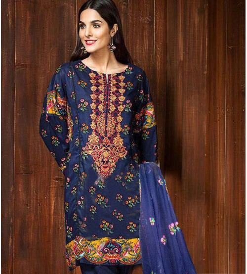 Blue Karandi Suit with Plain trouser