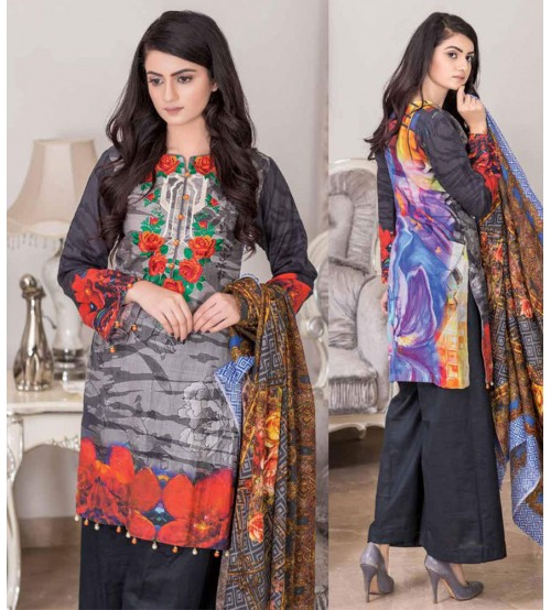 Khadar Grey Suit with Printed dupatta