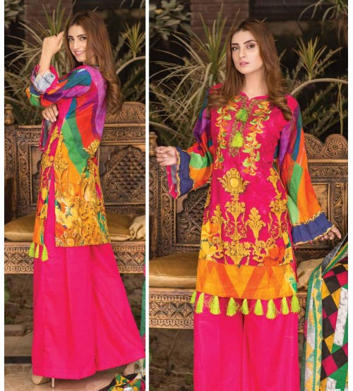 Pink Color khaddar embroidered Suit with Plain Trouser