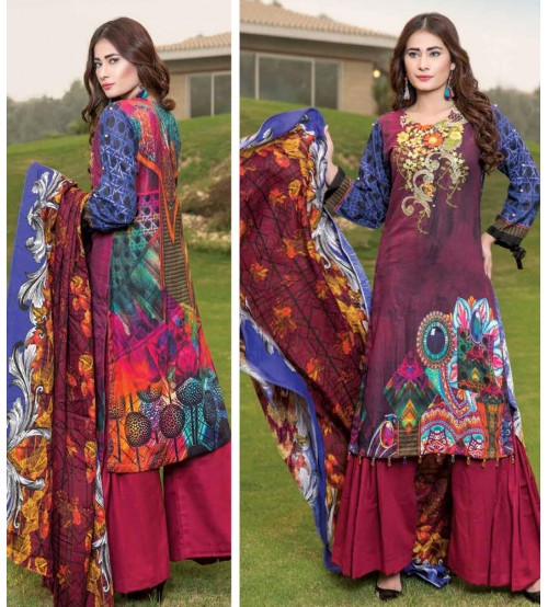 Purple and Blue Khaddar Suit with Maroon Trouser