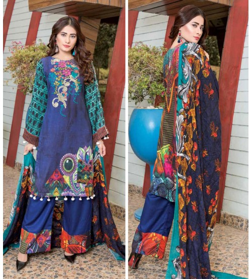 Blue khaddar Suit with Nick embroidered