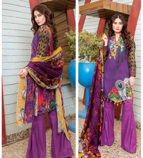 Purple Khaddar Suit with printed dupatta