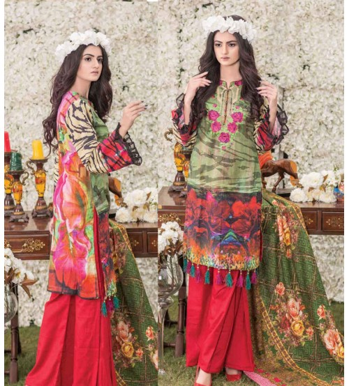 Green Khaddar Suit with Red Trouser