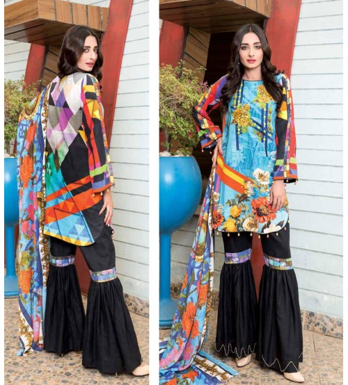 Sky Blue khaddar embroidered Suit  with Black Plain Trouser