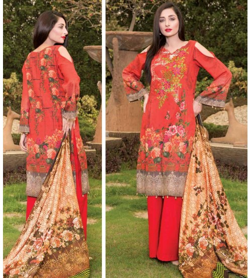 Orange Khadar Suit with dupatta