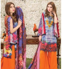 khaddar embroidered Suit with orange Trouser