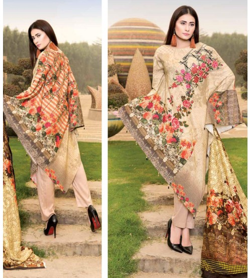 Skin Color khaddar embroidered Suit with Plain Trouser