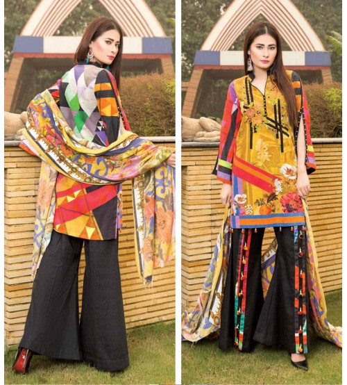 Mustard khaddar embroidered Suit with Black trouser