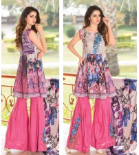 Pink and Blue khaddar embroidered Suit with Plain trouser