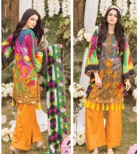Grey khaddar embroidered Suit with Mustard Plain Trouser