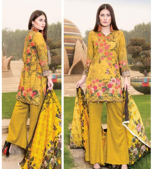 Mustard khaddar embroidered Suit with Plain Trouser
