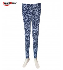 Blue Floral Printed Tights For Ladies