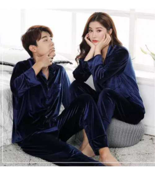Velvet Couple Shirt Pajama Set