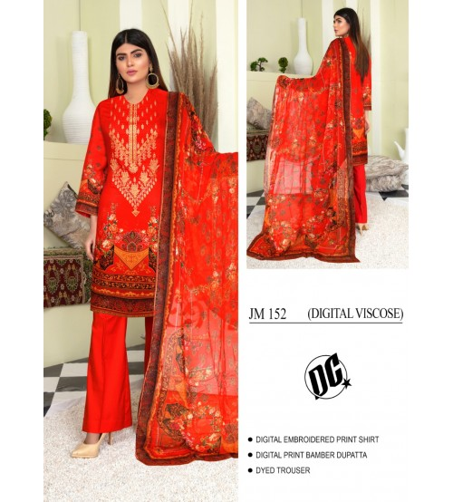 Superb Digital Viscose Red Suit