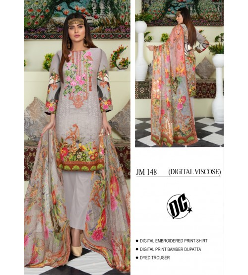 Nice Gery suit with bamber dupatta