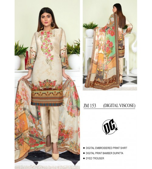 Stylish Embroidered Suit with dyed trouser