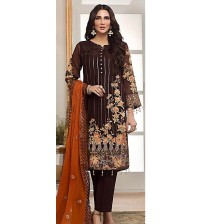 Awesome Brown Embroidered Lawn Suit With Shiffon Dupatta