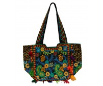 Trendy Colors Black Base Multi Design Handbag