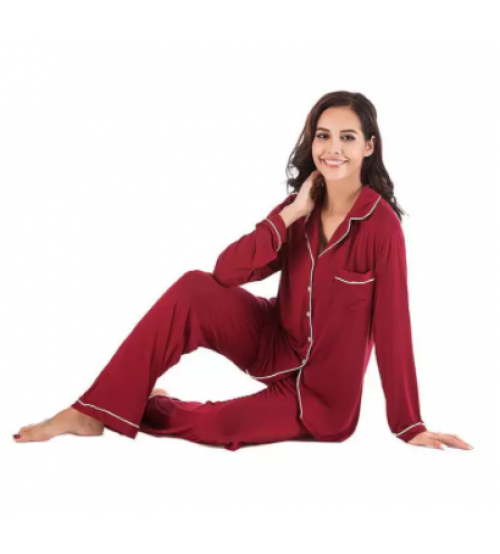 Maroon Cotton Long Sleeves Seepwear Pajama Sets For Women
